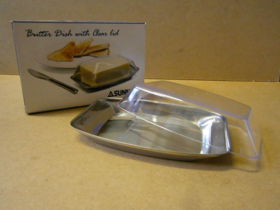 BUTTER DISH S/STEEL LID CLEAR