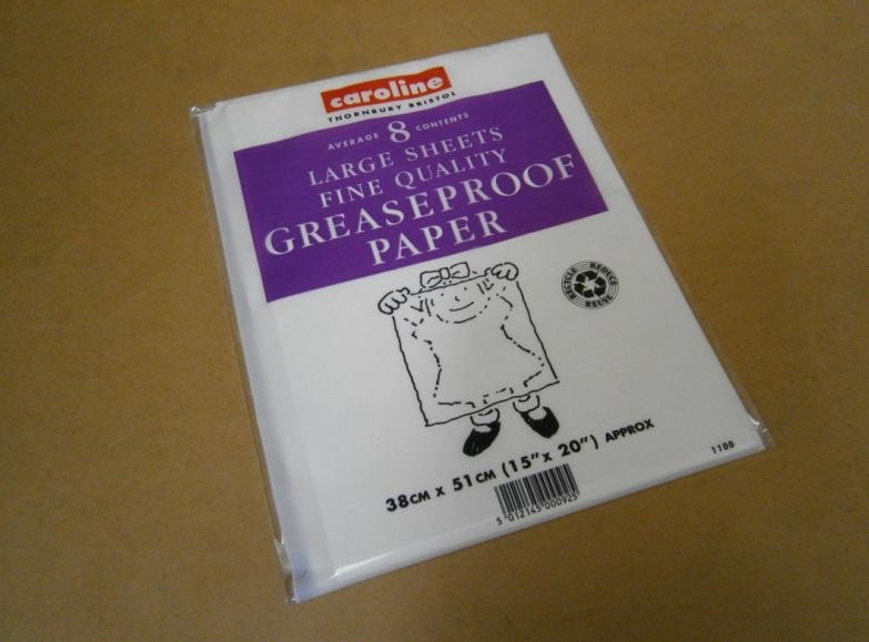 GREASEPROOF PAPER Pk 8 SHEETS