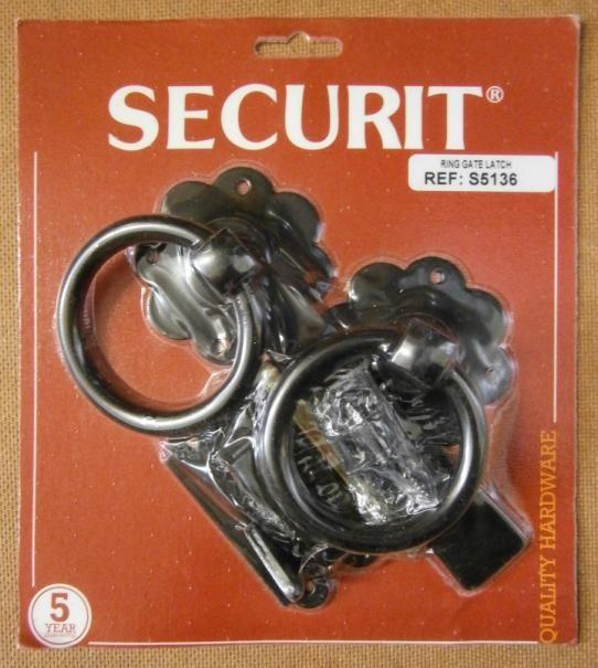 RING GATE LATCH BLACK 150mm SECURIT