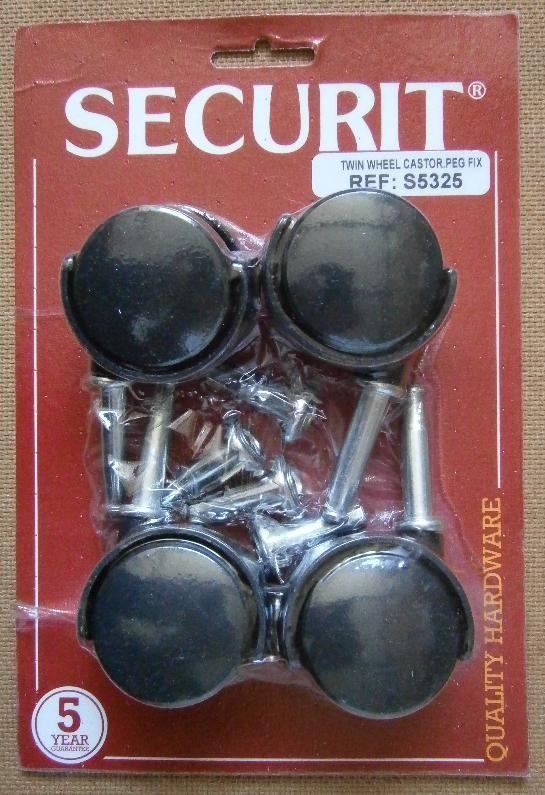TWIN WHEEL CASTOR PEG FIX 40mm SECURIT