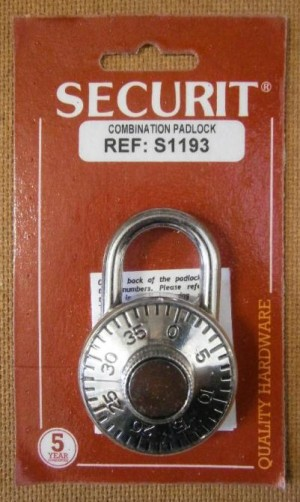 COMBINATION LOCK/DIAL 40mm SECURIT