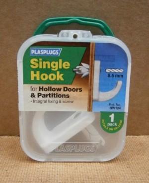 SGL HOOK HOLLOW DOOR x1  HW124